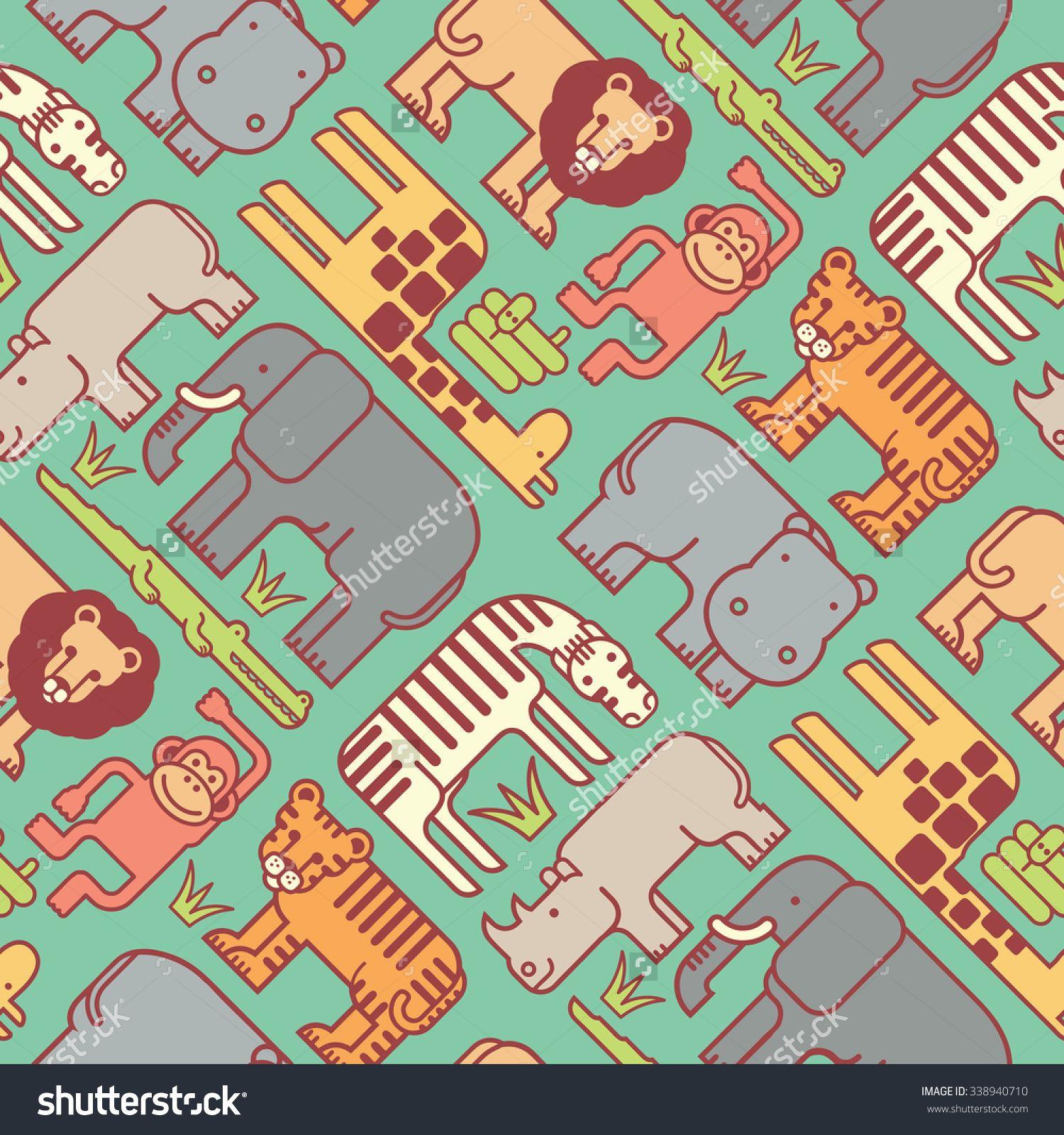 Seamless Pattern Of Cute Stylized Jungle Animals