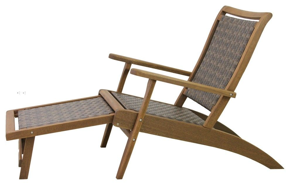 Brown Wicker And Eucalyptus Lounger With Built In Ottoman With