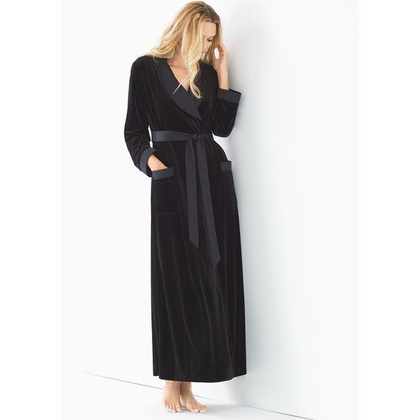 Soma Luxe Long Velvet Robe ( 58) ❤ liked on Polyvore featuring intimates 2e323d265