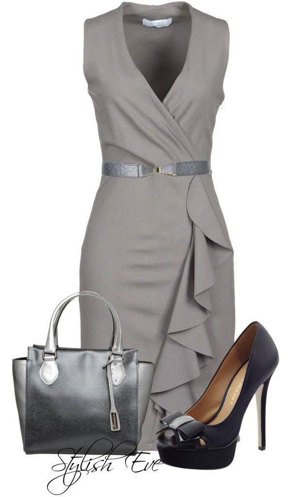 c71787594c Szürke ruha szürke táskával és más színű női elegáns cipővel ...
