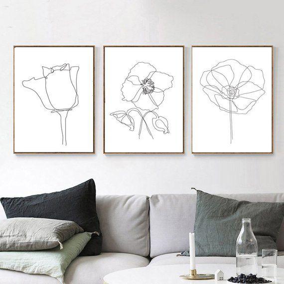 Flower Line Drawing Set Of 3 Prints Flower Line Art Botanical Etsy In 2020 Printable Wall Art Flower Line Drawings Botanical Wall Art
