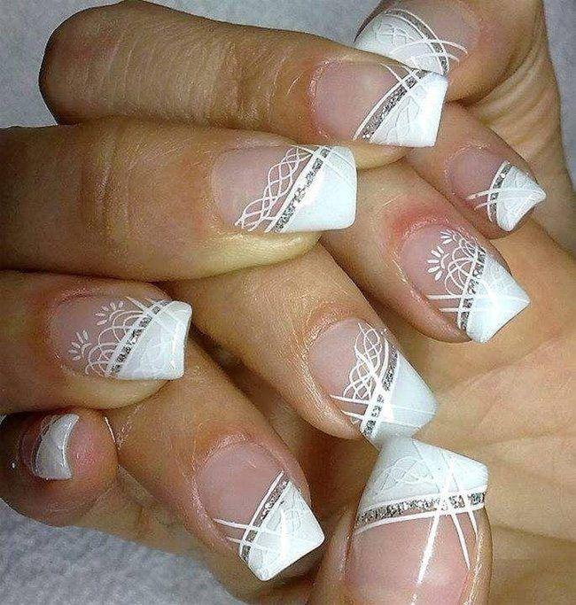 White Wedding Nail Art Designs für Bräute | Nagels | Pinterest ...