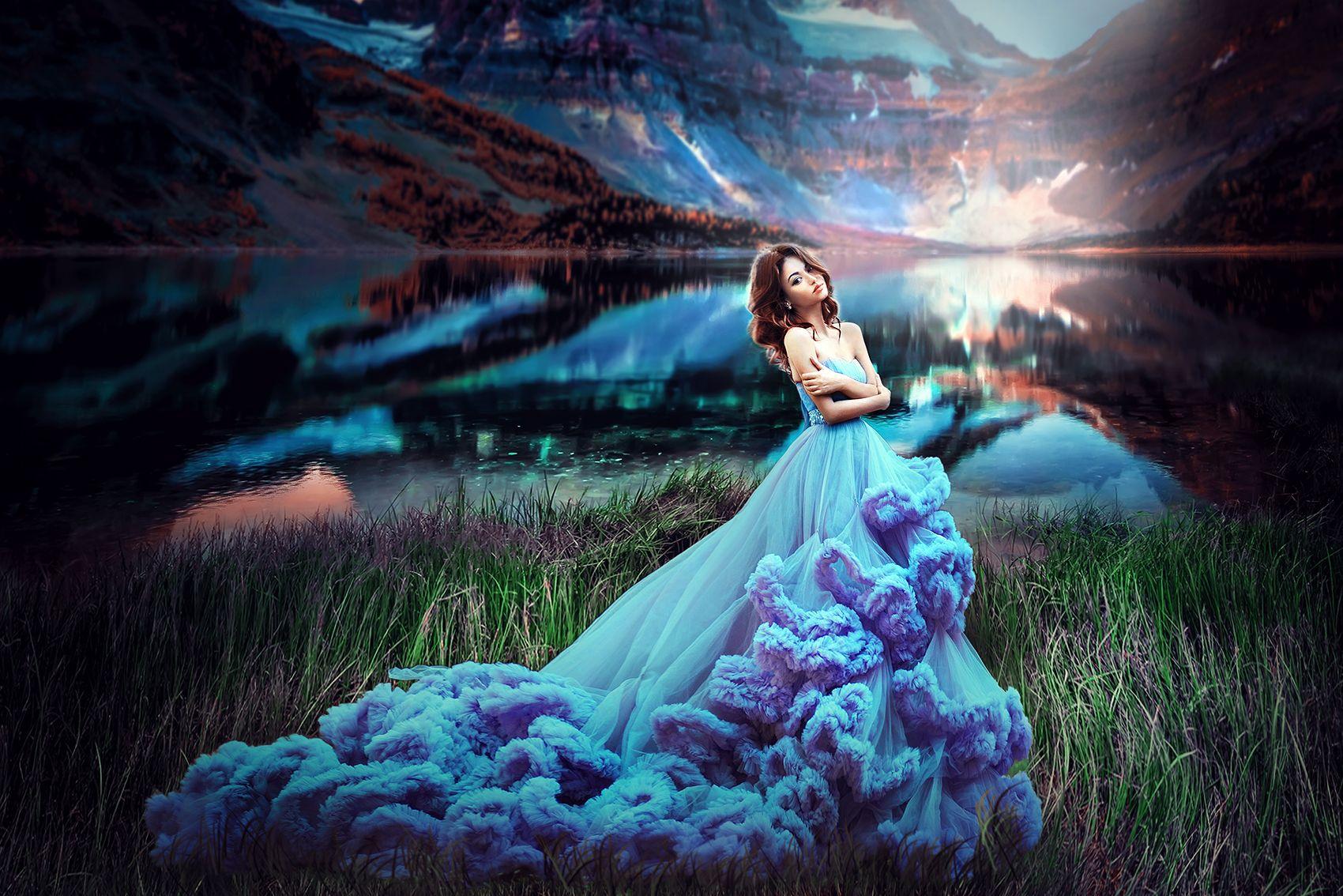 Девушка в голубом платье картинки