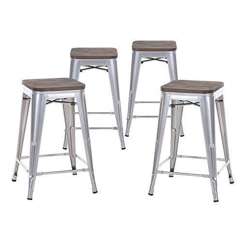 Miraculous Buschman Set Of Four Gray Wooden Seat 24 Inches Counter High Uwap Interior Chair Design Uwaporg