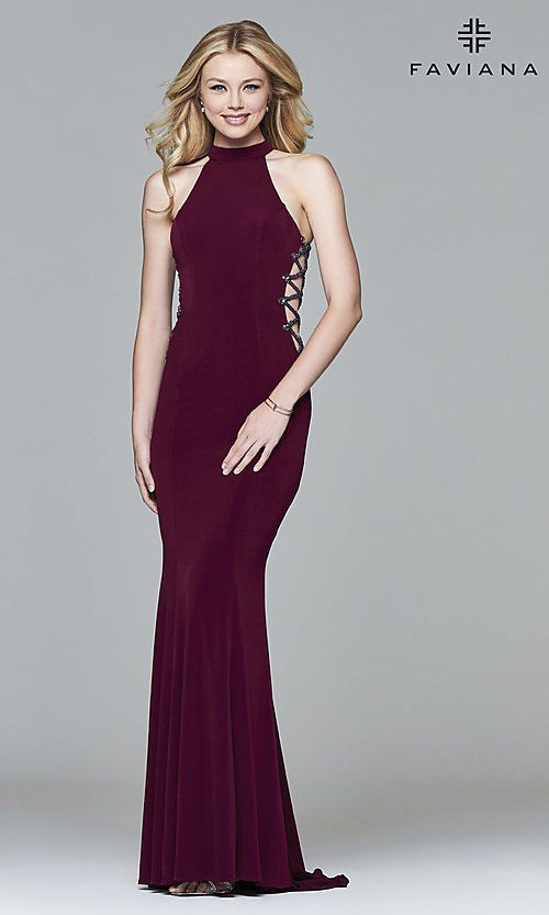 c5ea164f875443 Image of Faviana long formal dress with side cut outs. Style  FA-7931 Front  Image