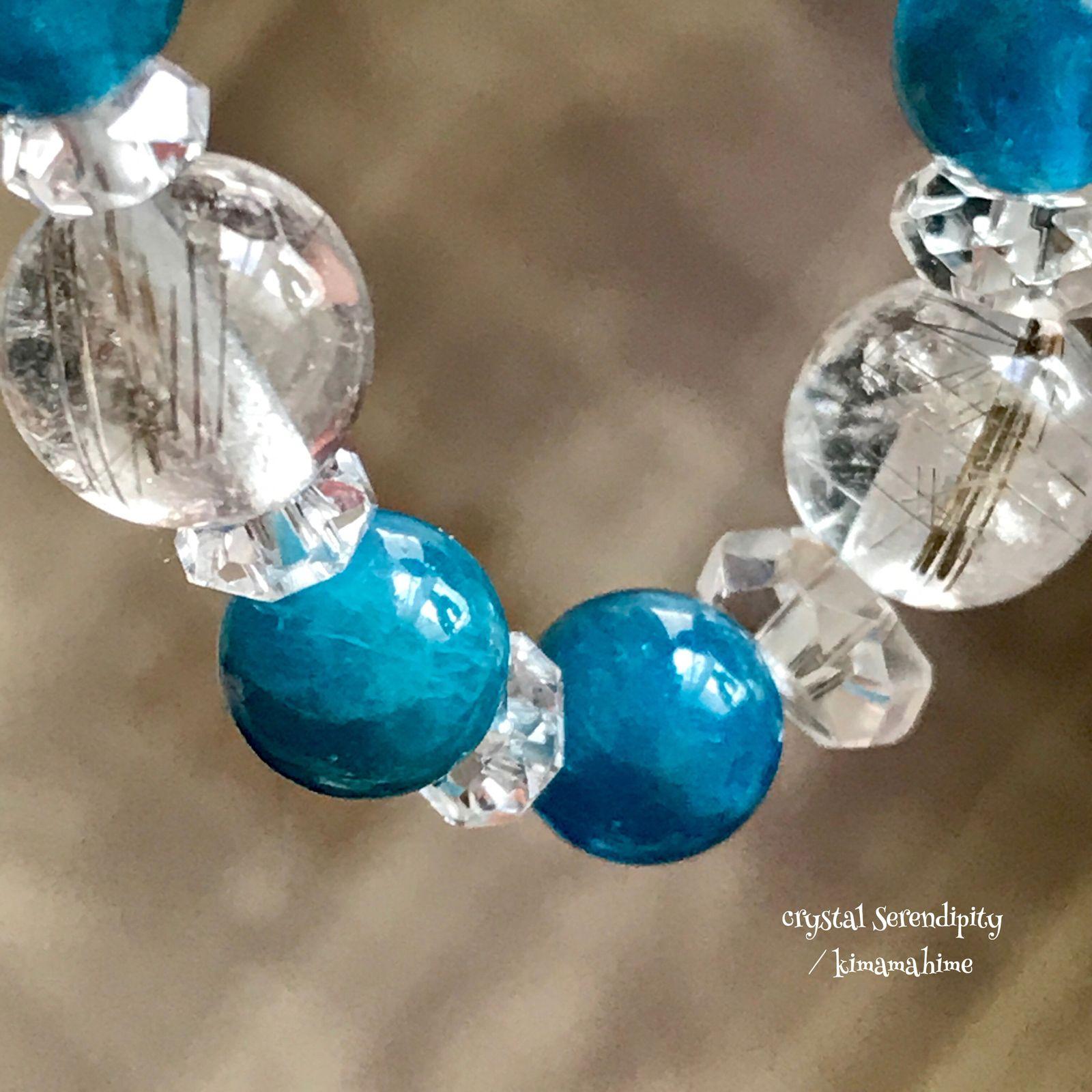 美品 透明 精神力強化 冷静さ 生命力 健康 若さ シルバールチル アパタイト 水晶 クリスタル 天然石 パワーストーン 開運 運気アップ ブルー ブレスレット アクセサリー 値下げ セール 2021 水晶 クリスタル 夫へのプレゼント