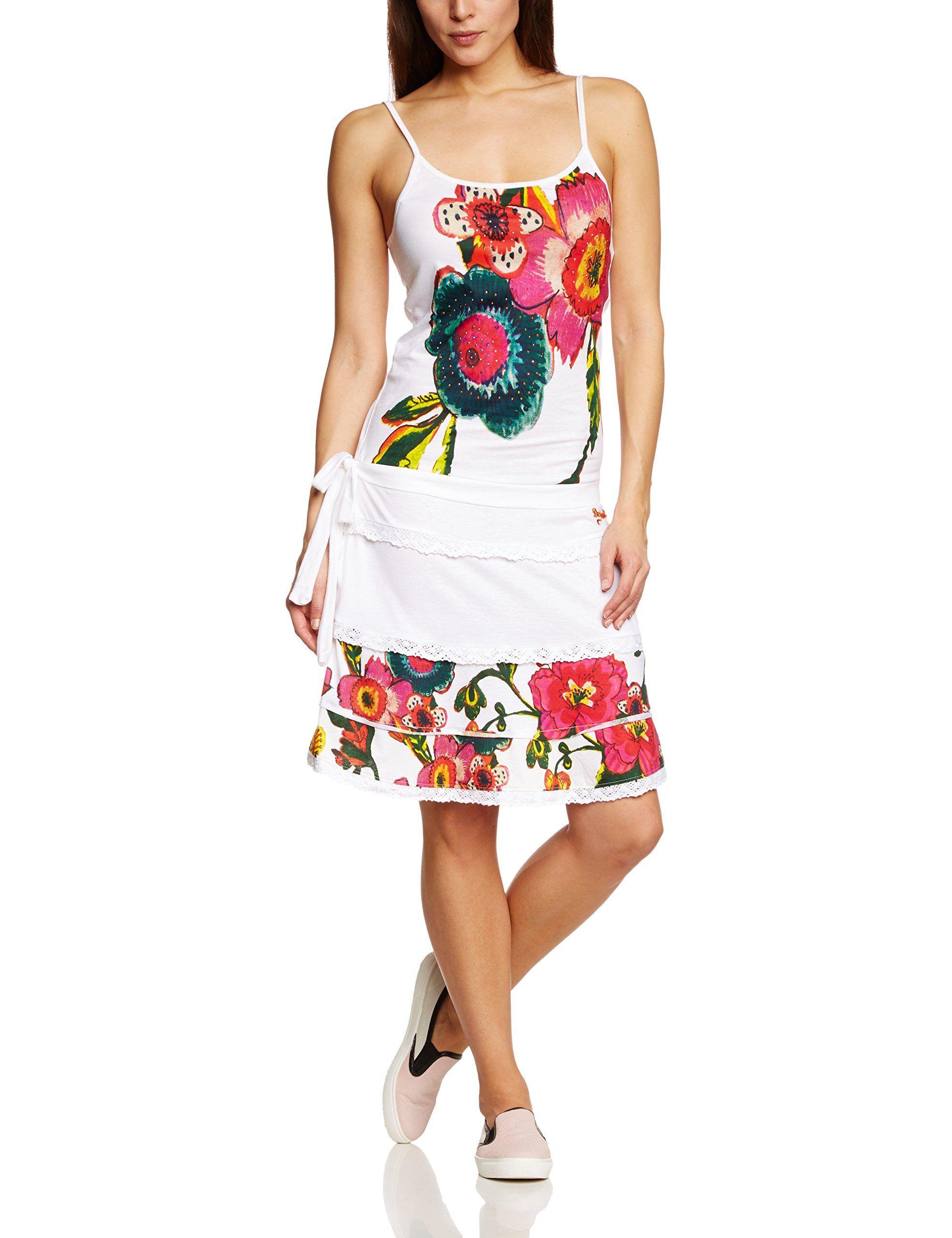 Desigual Vermond - Robe - Asymétrique - Imprimé - Sans manche - Femme -  Blanc (Blanco) - FR  36 (Taille fabricant  XS) 43e267da1de9