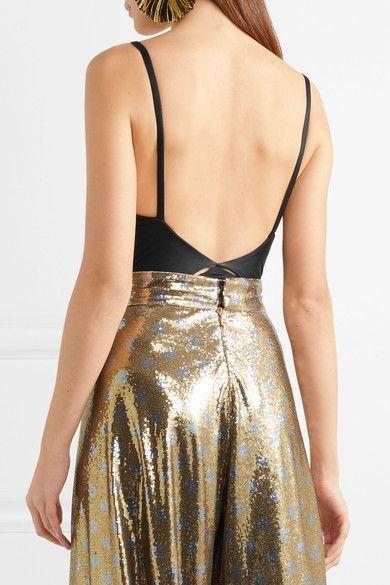 Cutout Twist-front Satin-jersey Bodysuit - Black Johanna Ortiz Discount Sast Marketable Low Price Online Shopping Online With Mastercard Buy Cheap New Styles 4ff8a8ek