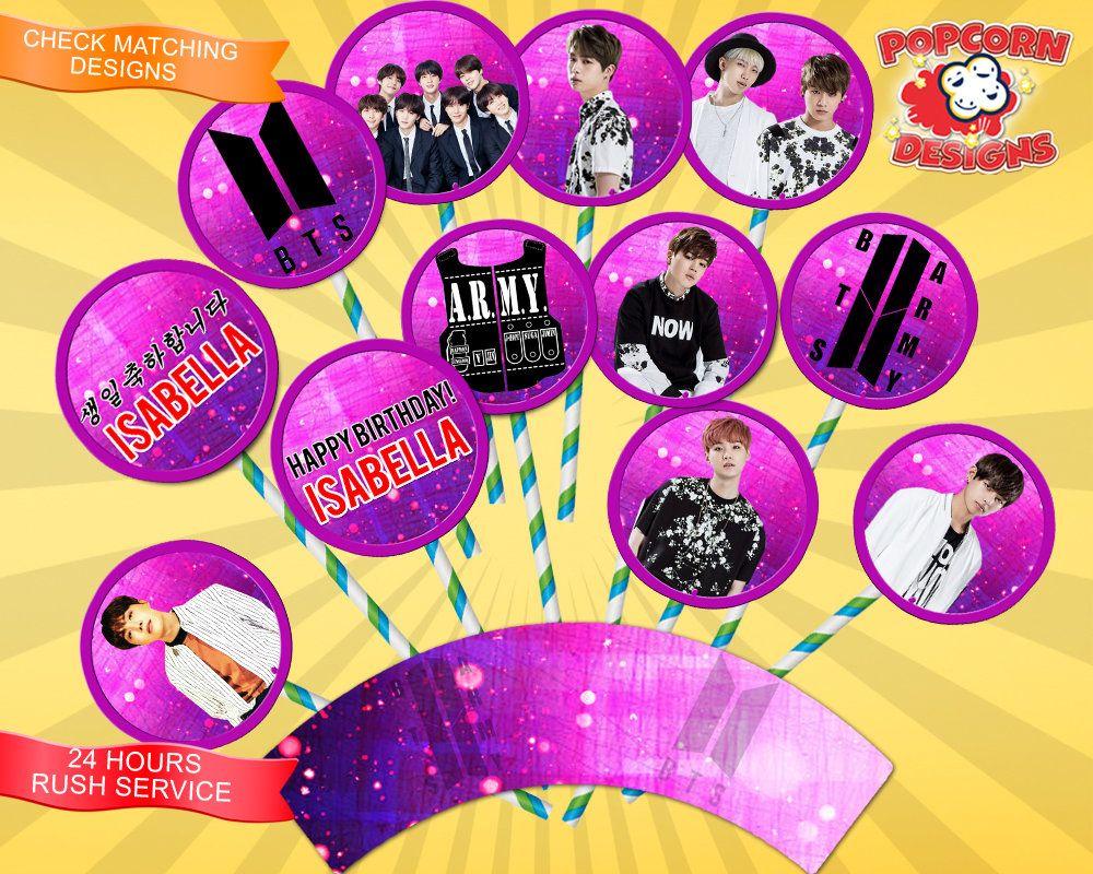 Bts Cupcake Toppers Digital Printable Birthday Party Image 0 Bts Aniversarios Sistema Digital Festa