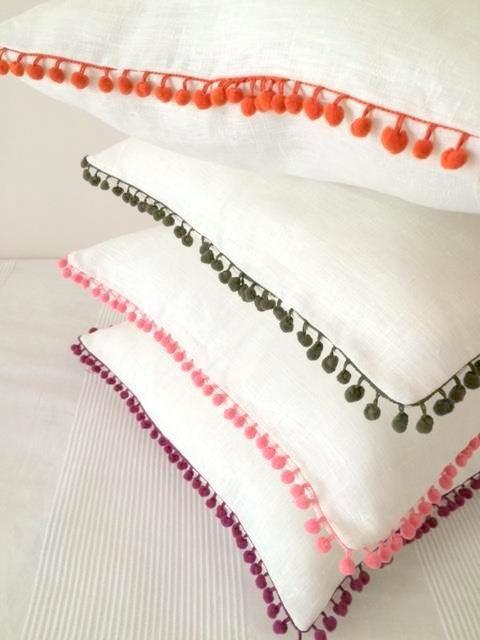 Funda de almohada lino blanco con naranja pompones 18 x 18 ...
