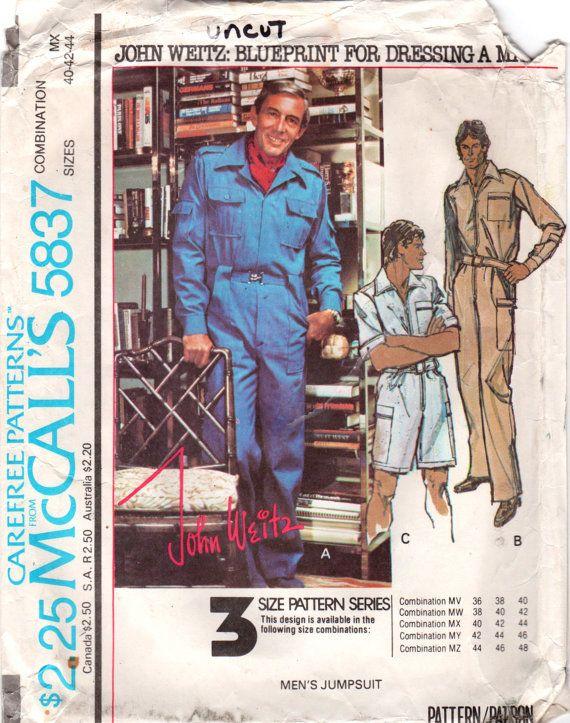 McCalls 5837 1970s Mens Designer Jumpsuit Pattern 2 Lengths John ...