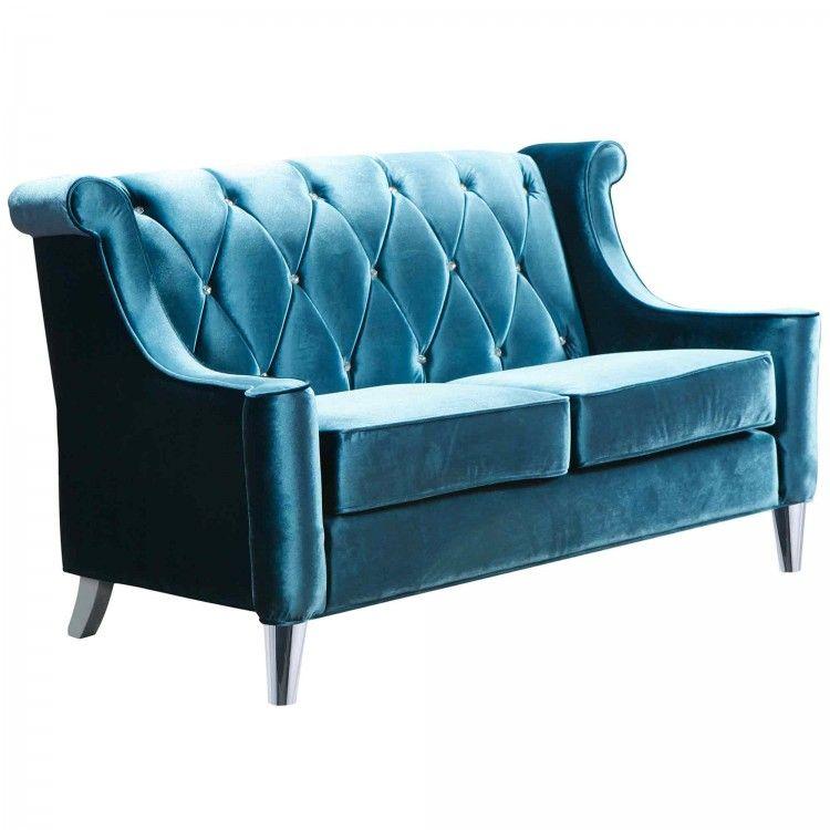 barrister loveseat in blue velvet with crystal buttons | mom, Wohnzimmer dekoo