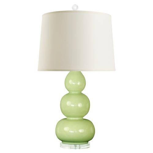 Baker modern green glazed ceramic triple gourd linen table lamp eclectic table lampsdesigner