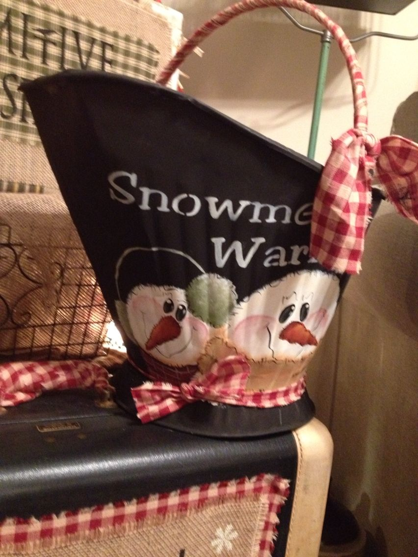 Old coal Buckets look great with snowmen!