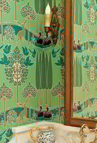 Voysey Wall Paper Art deco bathroom, Modern wallpaper
