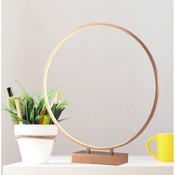 Grande Lampe Anneau Led Cuivré ø50cm Tactile Penelope
