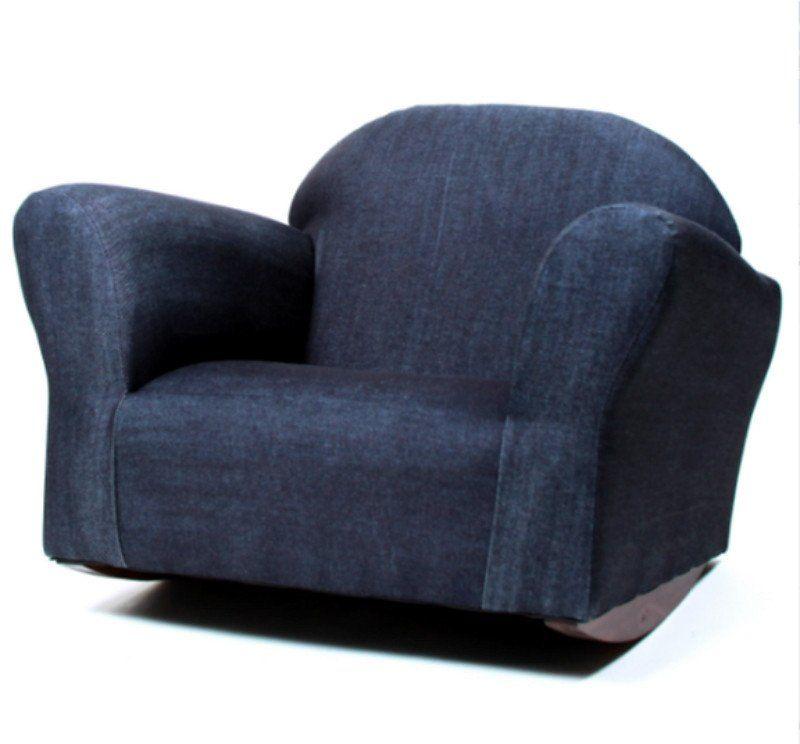 Bubble Denim Children's Rocking Chair Handmade Wooden Furniture Blue