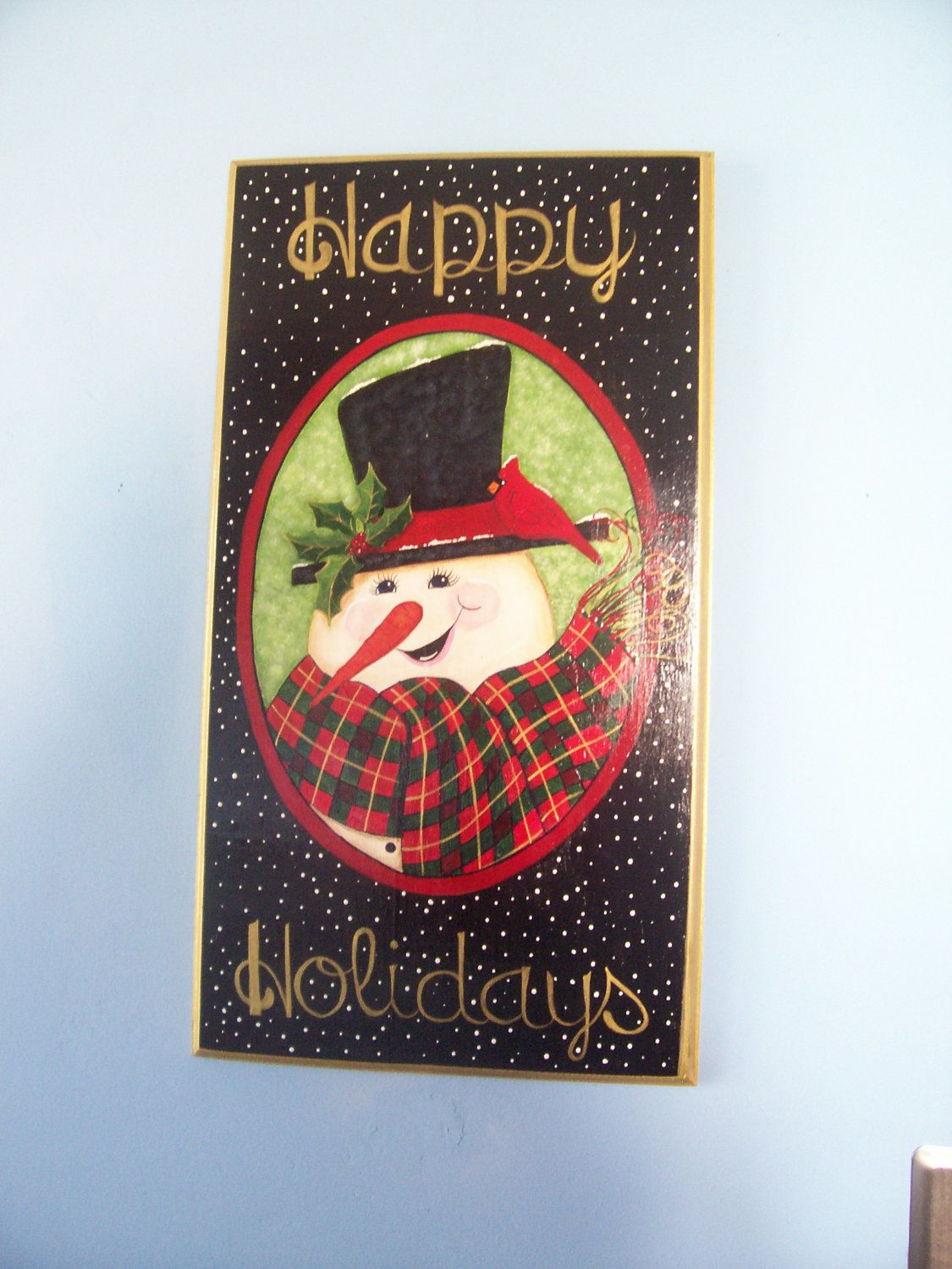 Christmas Wall Hanging Happy Holidays Snowman Decorative Tole