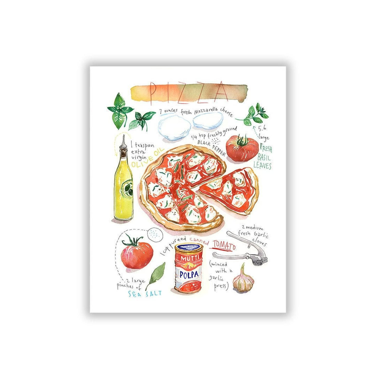 Pizza Recipe Print Food Poster Kitchen Art Italy Wall Art Italian Themed Gift Watercolor Painting Pizza Illustration Kitchen Decor In 2020 Food Poster Etsy Wall Art Italy Wall Art