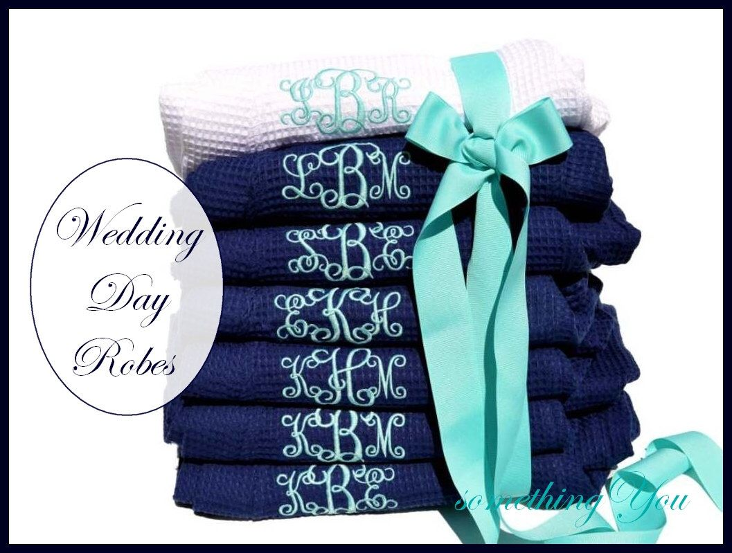 Bridesmaid Robes Set of 7 - Monogrammed Personalized Bridesmaids Robes White Navy Seven Wedding Party Bridal Gifts Waffle Weave Shower Gifts by SomethingYouGifts on Etsy https://www.etsy.com/listing/157847617/bridesmaid-robes-set-of-7-monogrammed