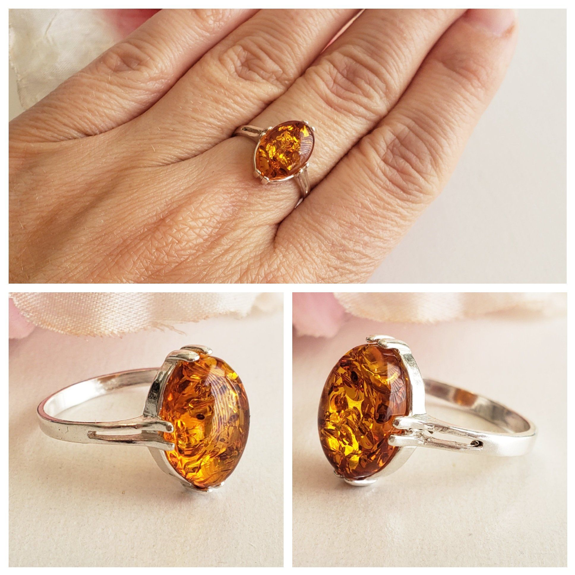 Amber Ring Sterling Silver Ring Baltic Amber ring Amber