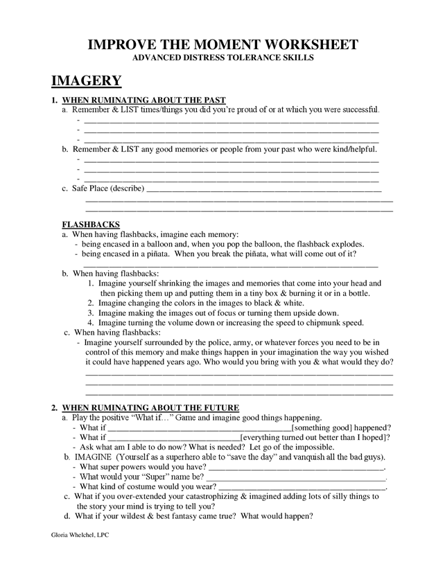Improve The Moment Worksheet  Dbt Self Help  Work