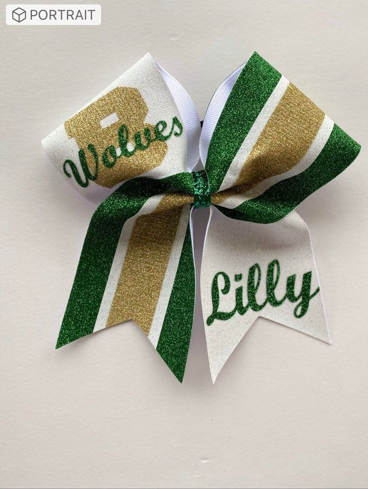 White Kelly Green And Confetti Gold Personalized Glitter Cheer Bows Price Listed Is Per Individual Bow Bows Can Be Made In Your Colors In 2020 Glitter Cheer Bow Cheer Bows Glitter