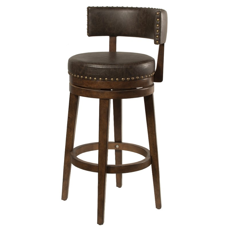 Walnut Brown 26 Inch Swivel Counter Height Stool Lawton With