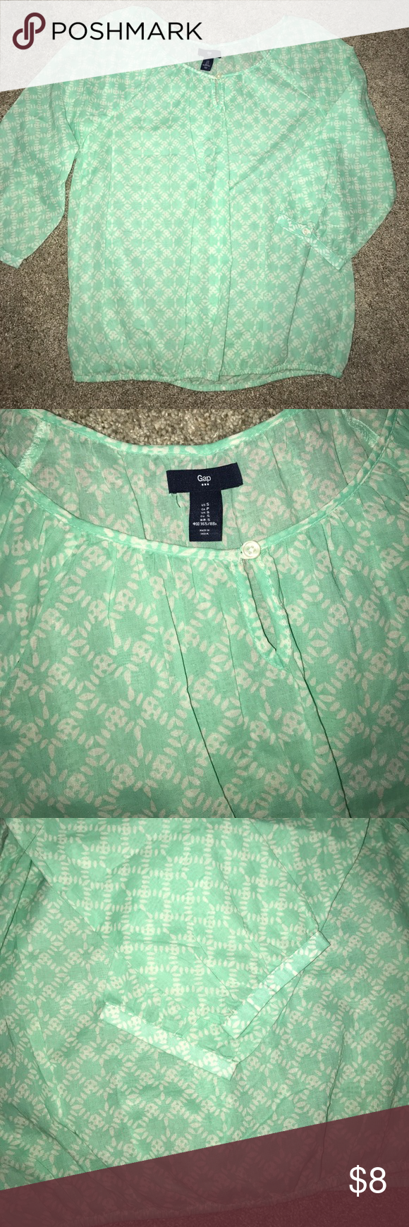 Women's GAP blouse Worn once, in excellent condition! Mint colored blouse with white detail, 3/4sleeve with gathered elastic band around the bottom. Perfect for spring g/summer. Accepting offers GAP Tops Blouses