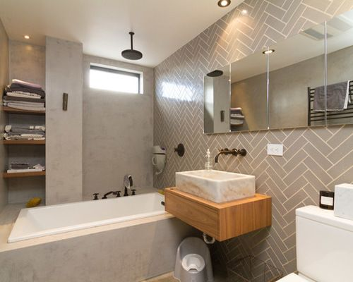chevron tile pattern bathroom