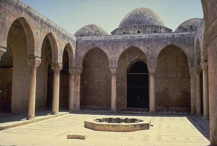 The Madrasa al-Firdaws in Aleppo, general view from courtyard. Image: MIT Aga Khan Program for Islamic Architecture