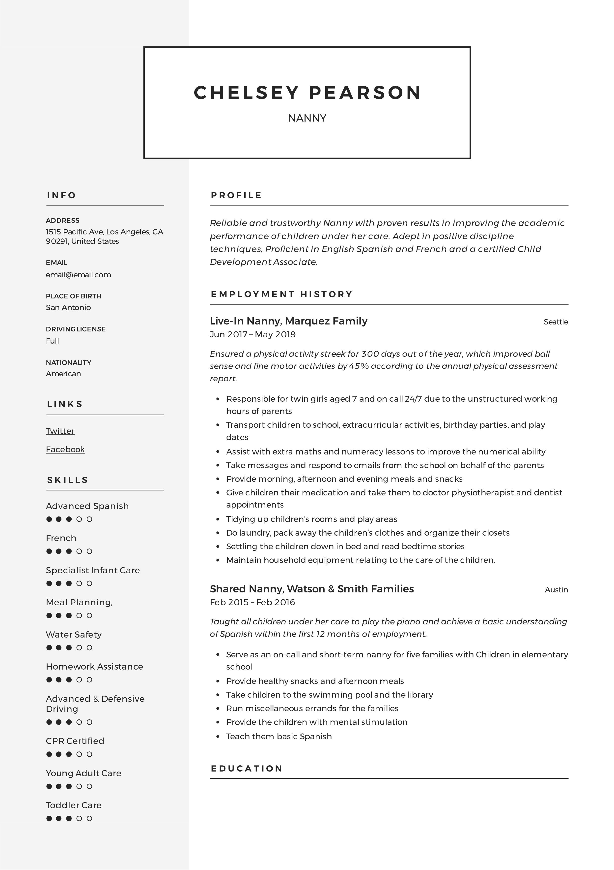 Nanny Resume & Writing Guide in 2020 Resume guide