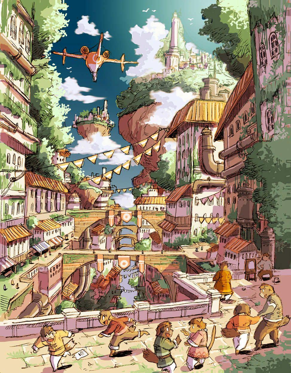 2018 年の「街のビジュアルはこんな感じ。 #solatorobo | 背景イラスト