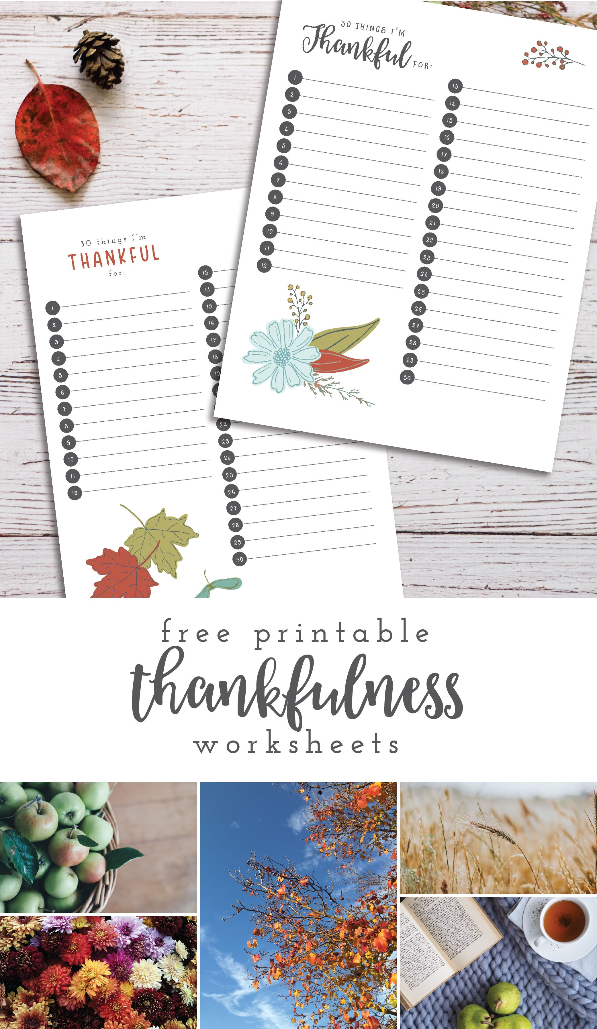 Free Printable Thankfulness Worksheets For Autumn