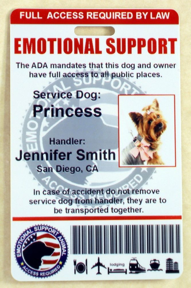 Emotional Support Service Dog Id Card For Service Animal Ada Rated