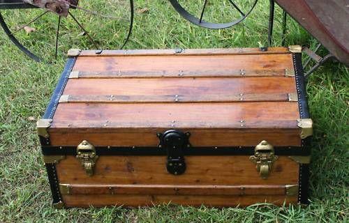 Low Profile Flat Top Antique Trunk