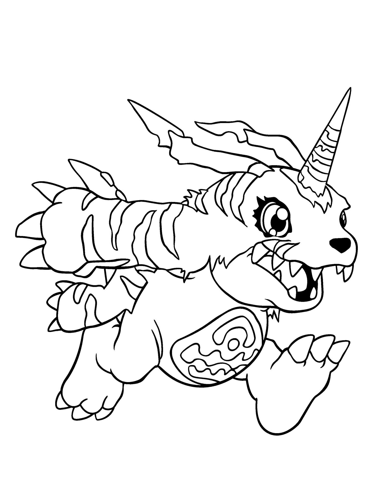 Gabumon Running Coloring Page | Digimon Coloring Page | Pinterest ...