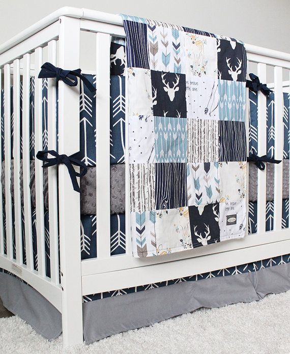 Baby Boy Woodland Nursery Boy Crib Bedding Set Navy Blue Arrow