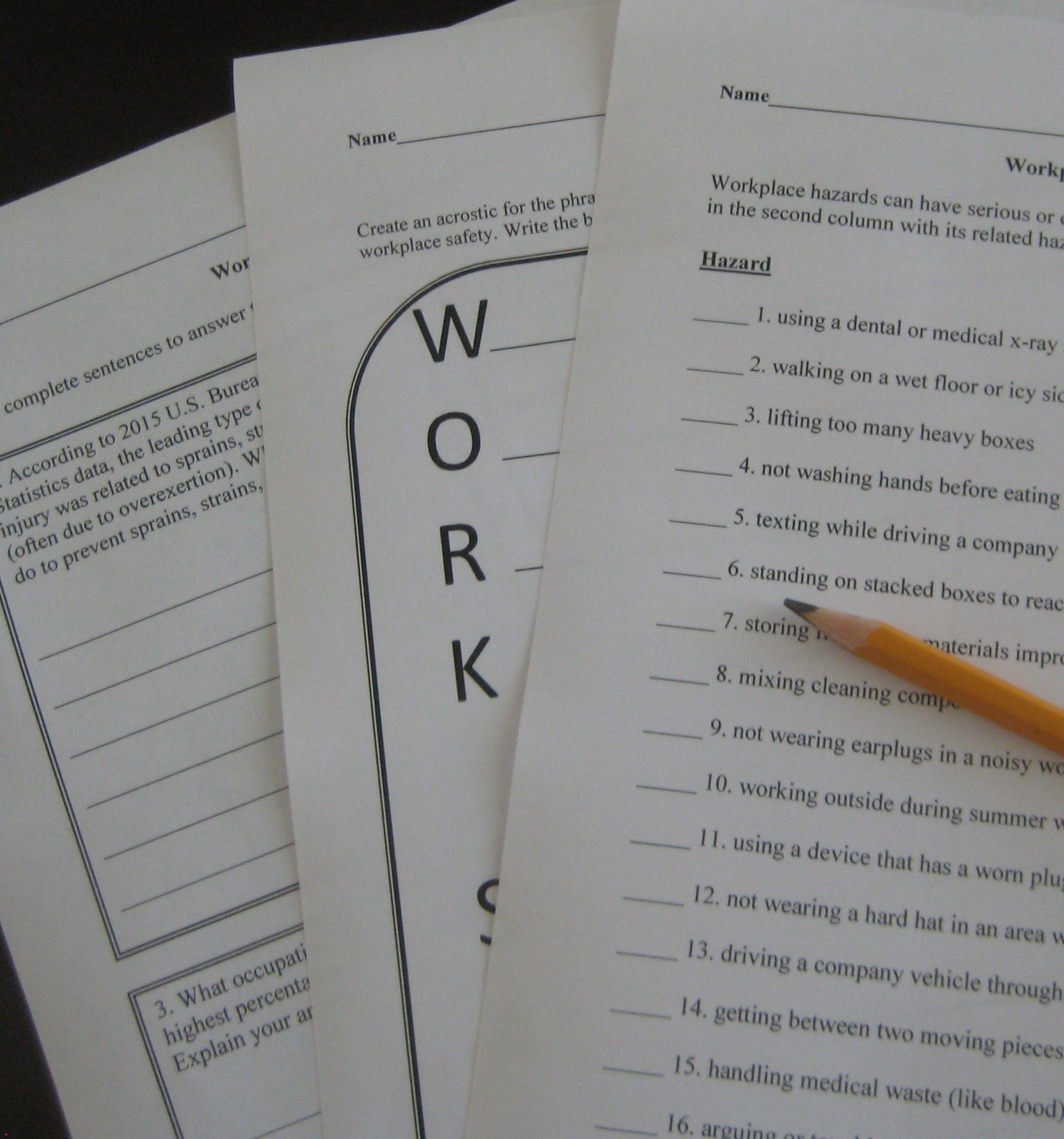 Workplace Safety Activities Help Students Recognize And