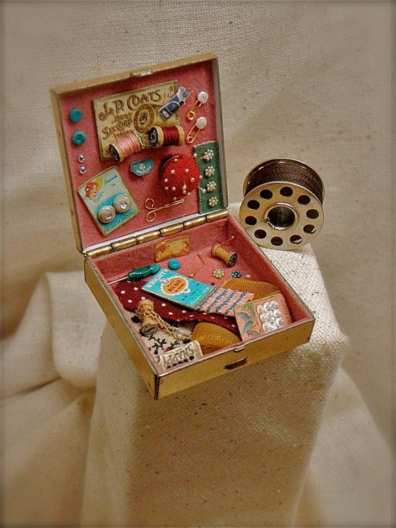 Dollhouse Miniature Sewing Notions Box of 8 Thread Spools