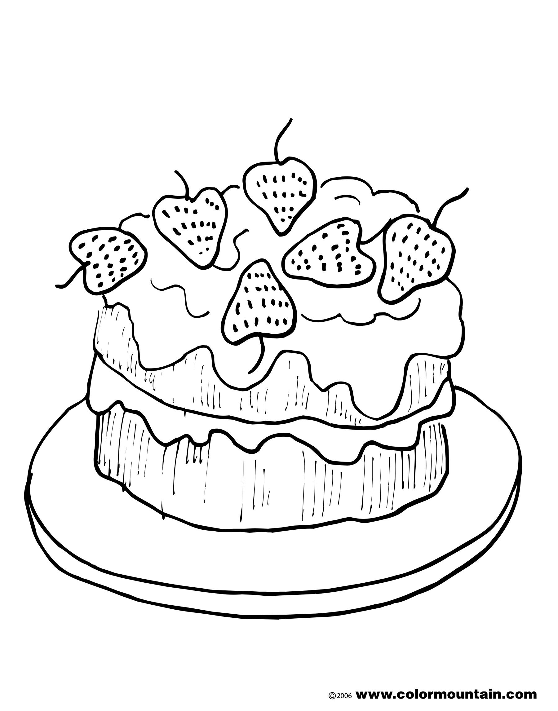 strawberry cake coloring picture - Cake Coloring Pages