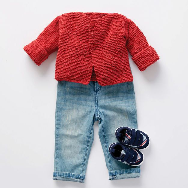 Bernat Soft and Simple Knit Baby Cardigan, 6 mos | Baby ...
