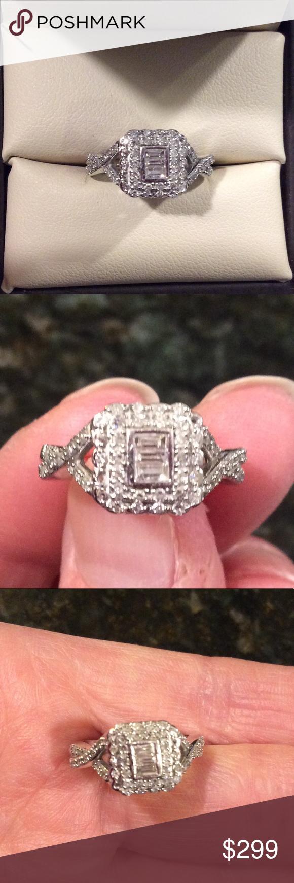 14k white gold genuine diamond ring 5 1/2 | Round diamonds, White ...