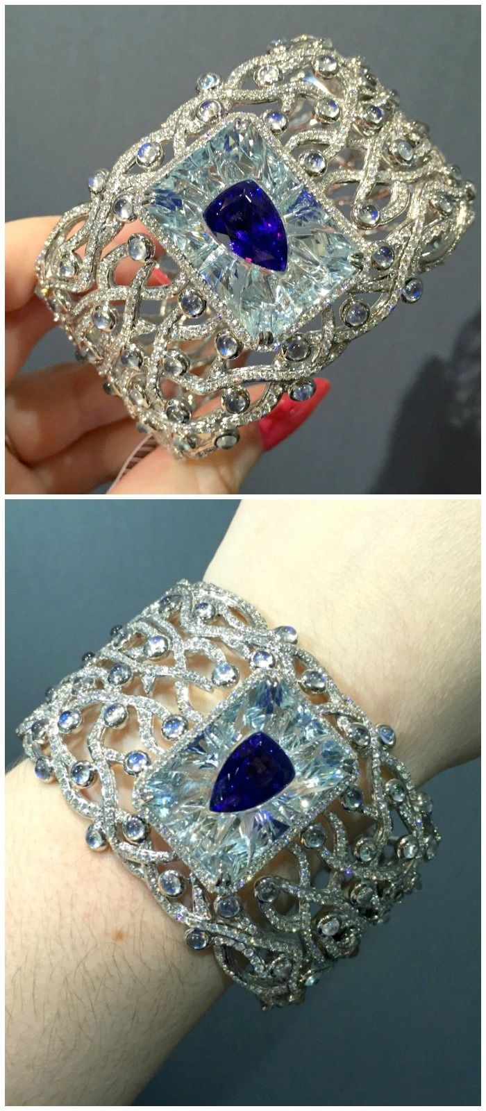 This Yael Designs bangle features a 7 carat tanzanite invisibly set inside a 26 carat aquamarine - with moonstones and diamonds on top of that. Incredible.