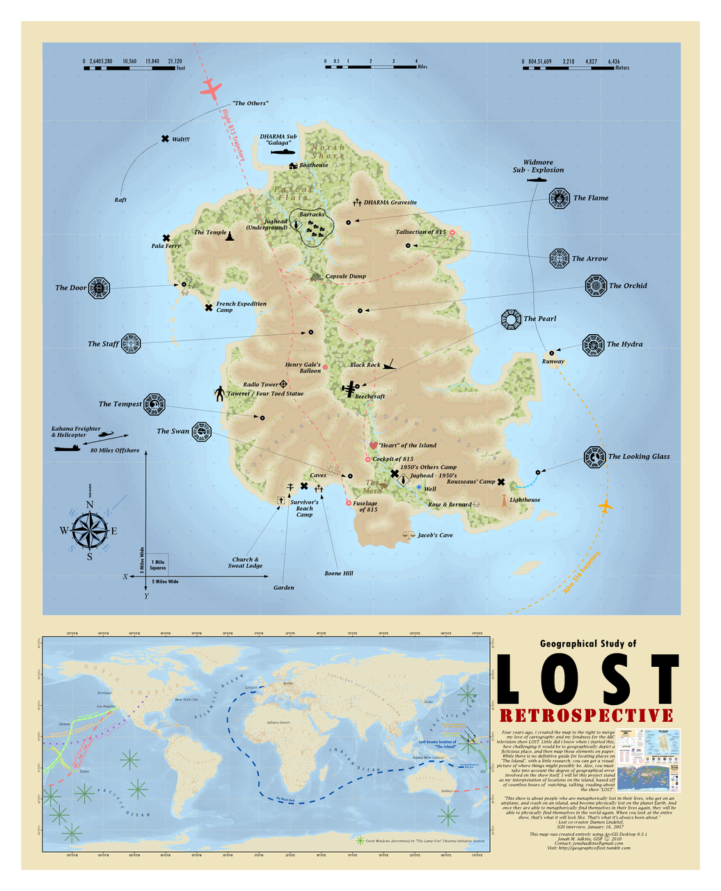 Professional Cartographer Creates The Best Map Of Losts Island - Maps Of Us Television Show Preference