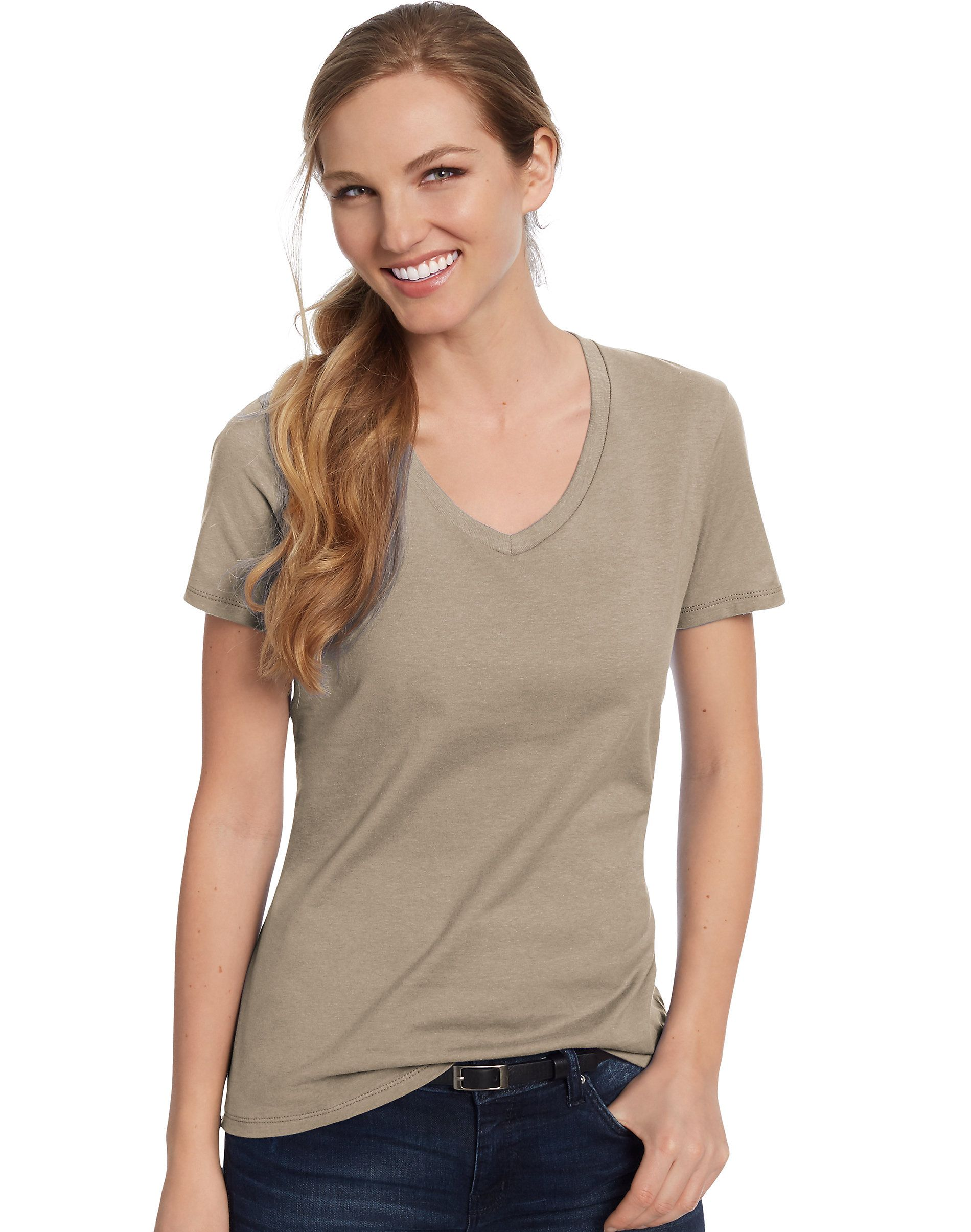 f96bd1569afa59 Hanes Womens T-Shirt Short Sleeve Top Nano-T V-Neck Solid Plain 100 ...