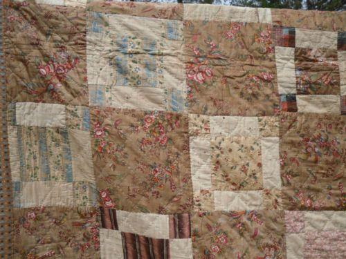 British Hand Made Antique Huge Cotton Quilt C 1850 Chintz Flowers Birds Leaves | eBay
