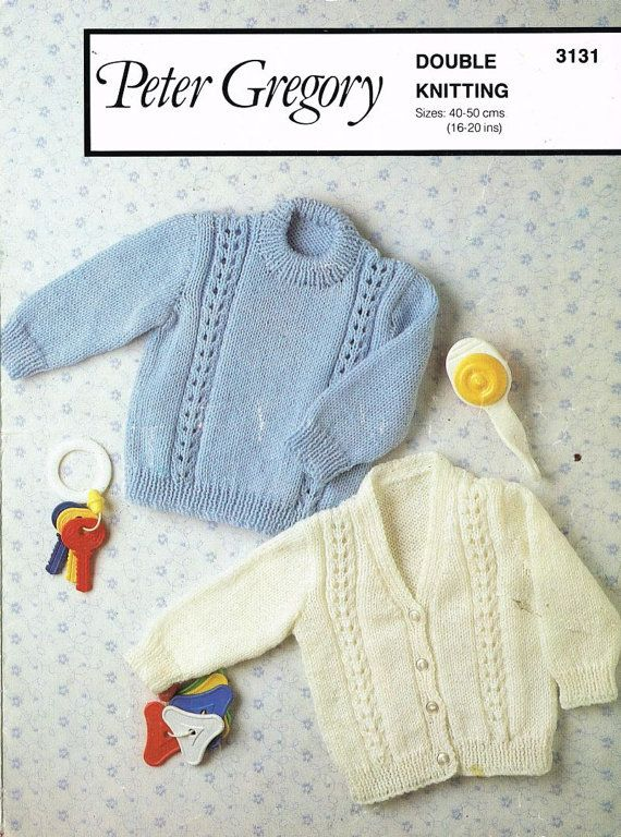 Peter Gregory 3131 baby cardigan and jumper vintage knitting pattern ...