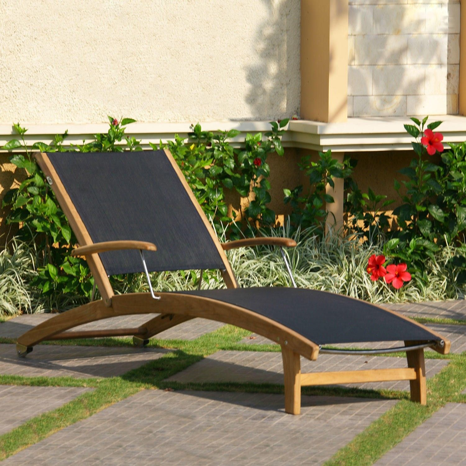 Rivera Teak Sling Lounge Chair Outdoor Chaise Lounges Outdoor Furniture Outdoor Lounge Chair Outdoor Teak Chaise Lounge Pool Patio Furniture