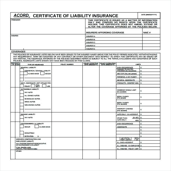 Acord Insurance Certificate Template 3